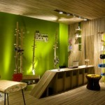 Fantastic Green Interior Design Wood Wall Motive