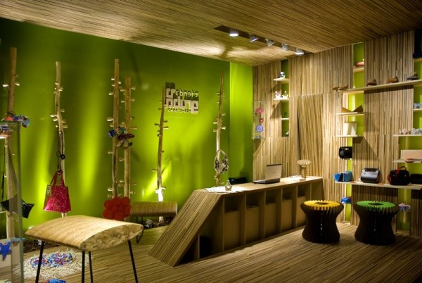 Amazing Green Interior Design Wood Wall Motive Home Interior