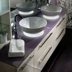 Artistic and Amazing Bathroom Vanities with Violet Color Combination