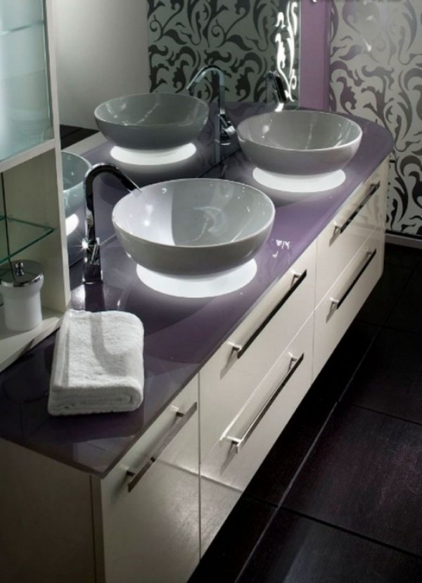 ... Artistic And Modern Bathroom Vanities With Violet Color Combination ...