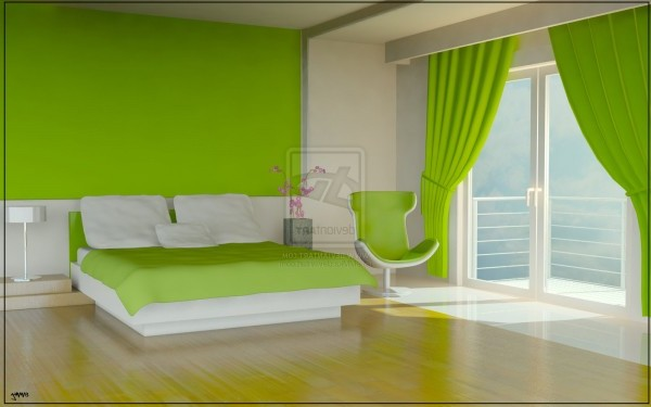 Green Color Bedroom Model Home Interior Design Ideas