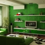 Luxury Green Living Room Interior Design Photo