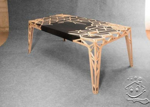 Modern wood table design home interior design ideas for Table structure