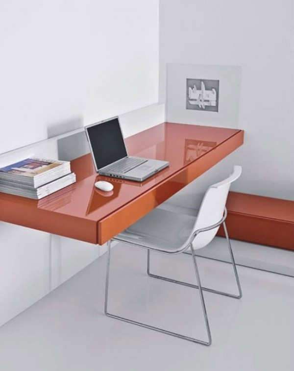 orange suspended desk design home interior design ideas. Black Bedroom Furniture Sets. Home Design Ideas
