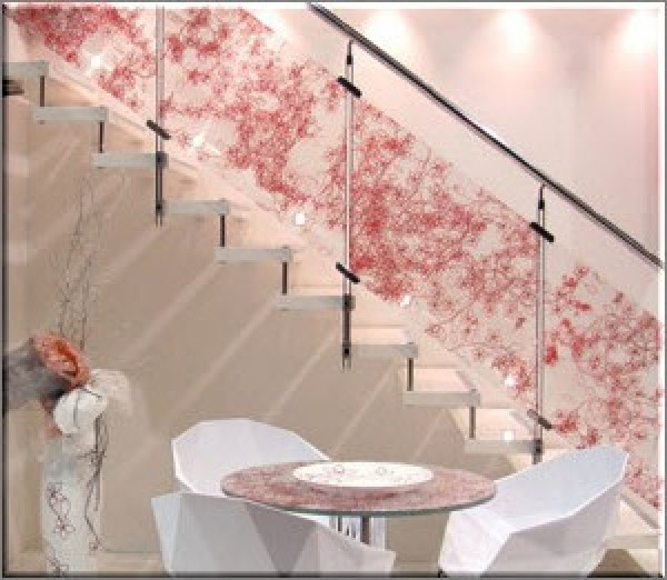 Floral Design Which Coat The Glass Staircase Home