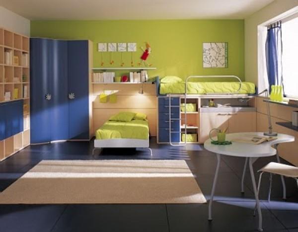Green Berloni Double Bedroom Design for Kids