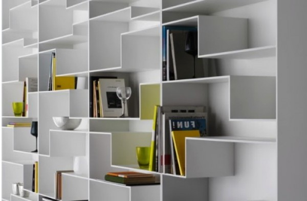 Angular Bookcase Design