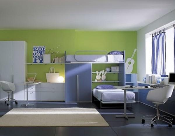 Blue Green Berloni Double Bedroom Design for Kids