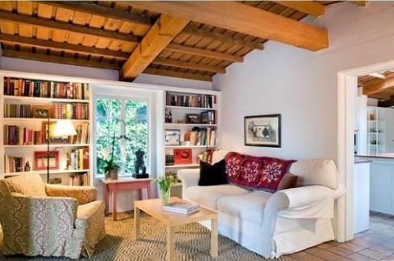 Attractive Family Room with Amazing Bookshelf