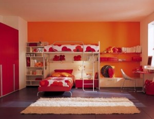 Orange Berloni Double Bedroom Design for Kids