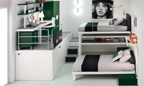 Cool Bunk and Loft for Kids Bedroom with Green Scheme