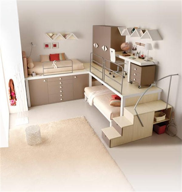 Cool Bunk and Loft for Kids Bedroom with Vanilla Design