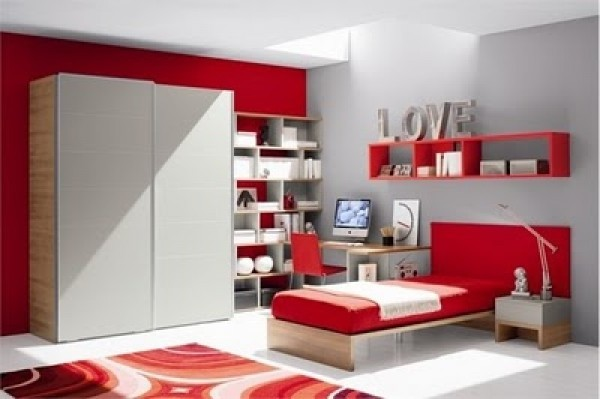 Modern Red and White Teen Bedroom Design