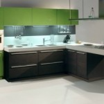 Dark Oak Glossy Aplle Sistema Zeta Wooden Kitchen