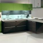 Dark Oak Glossy Aplle Sistema Zeta Wooden Kitchen