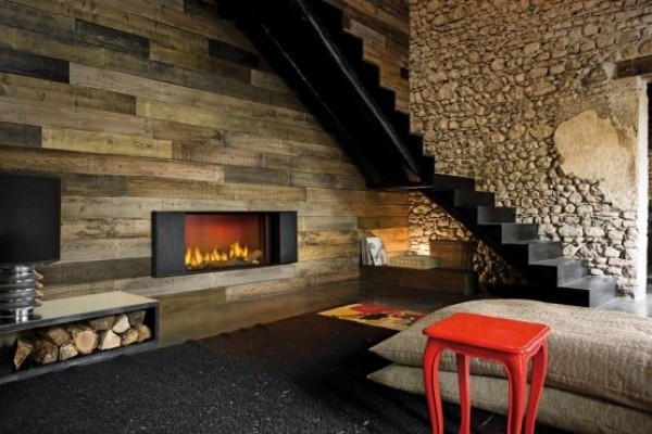 New Indoor Fireplace with Wooden Wall Alloy Composition Klee