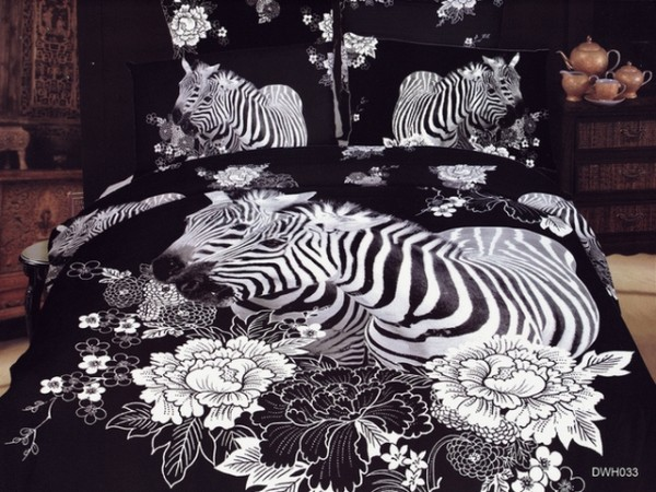 exclusive japan bed sheet with black zebra motif home interior design ideas. Black Bedroom Furniture Sets. Home Design Ideas