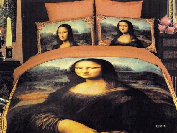 Latest Japan Bed Linen with Orange Monalisa Motive