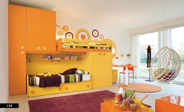 Funny Orange Kids Bedroom Design Concept