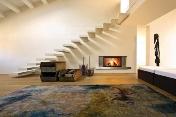 Amazing Guttuso Inox Wood Fireplace with Polished Stone Settlement Piasentina