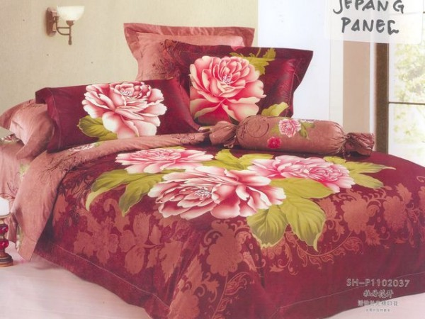 Attractive Large Japan Bed Linen with Brown Flower Motif
