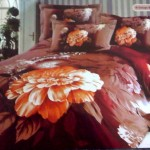 New Large Japan Bed Linen with Brown Flower Motive