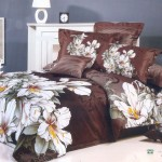 Awesome Large Japan Bed Linen with Brown Flower Motives