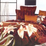 Riveting Large Japan Bed Linen with Brown Flowers Motive