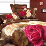 Modern Large Japan Bed Linen with Brown Greenish Rose Motif