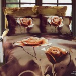 Beautiful Large Japan Bed Linen with Brown Rose Motif