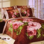 Aesthetic Large Japan Bed Linen with Brown Rose Motive