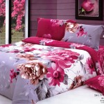 Unique Large Japan Bed Linen with Fanta Red White Flower Motive