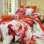 Cool Large Japan Bed Linen with Orange Flower Motif
