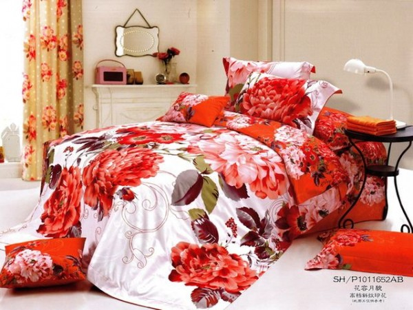 Interesting Large Japan Bed Linen with Orange Flower Motive