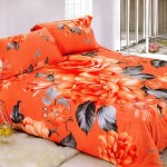 Innovative Large Japan Bed Linen with Orange Flower Motives