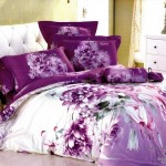 Contemporary Large Japan Bed Linen with Purple Flower Motif