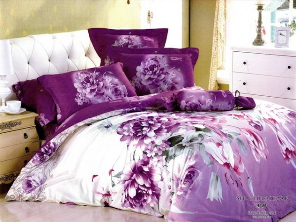 Delightful ... Large Japan Bedsheet With Purple Flower Motif ...