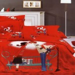 Funny Large Japan Bed Linen with Red Children Motive