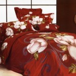 Nice Large Japan Bed Linen with Red White Orchid Flower Motive