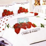 Amazing Large Japan Bed Linen with Red White Strawberry Motif