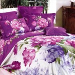 Luxurious Large Japan Bed Linen with White Purple Flower Motif