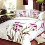 Exclusive Large Japan Bed Linen with White Yellow Flower Motif