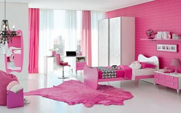 Latest pink barbie bedroom design model home interior for Latest model bed design