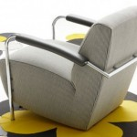 New Concept of Single Armchair with Chrome Legs Model