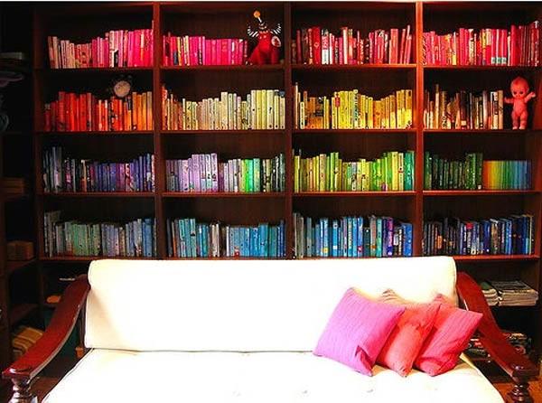 Rainbow Bookshelf Type Home Interior Design Ideas