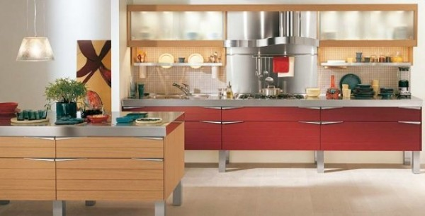Kitchen Design Models Red Wooden Kitchen Design Model  Home Interior Design Ideas