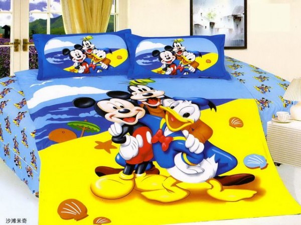Artistic Small Japan Bed Linen with Blue Mickey and Donald Duck Motive