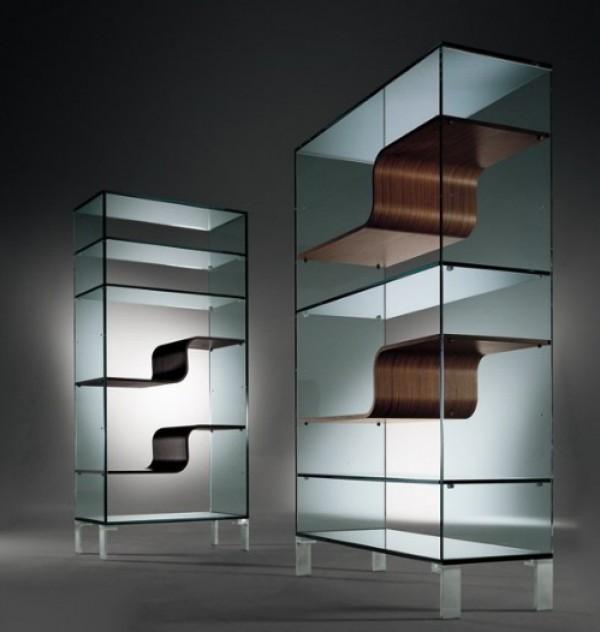 Urbinati Wave Glass Shelving Design