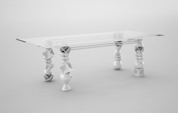 New Art Deco Glass Dining Table Design Furniture