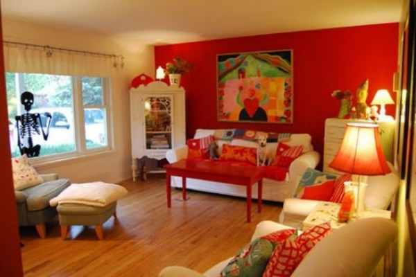 The color combination for red living room home design for Red living room ideas